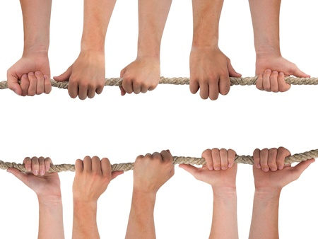 Hands in a row holding rope isolated on white Stock Photo - 15326299