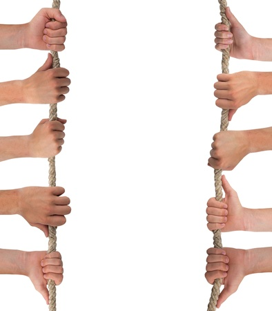 Hands in a row holding rope isolated on white photo