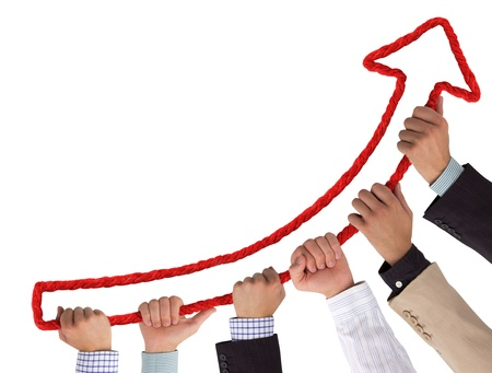 teamwork together: Business hands holding red arrow pointing upwards Stock Photo