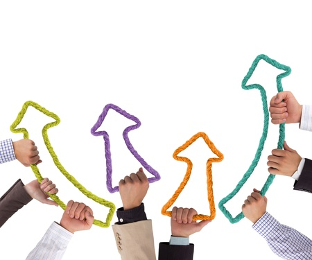 カラフルな矢印上向きビジネス手 写真素材