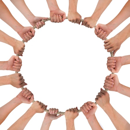 Hands forming circle isolated on white Stock Photo