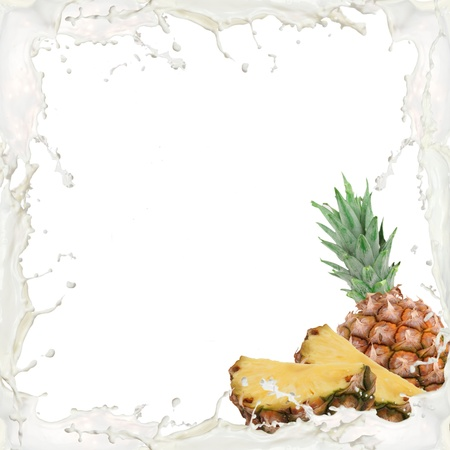 Milk splash frame with pineapple isolated on white photo