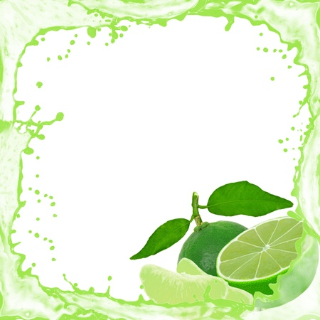 lime fruit: Splash frame with lime isolated on white