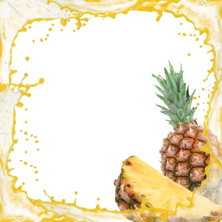 Splash frame with pineapple isolated on white Zdjęcie Seryjne