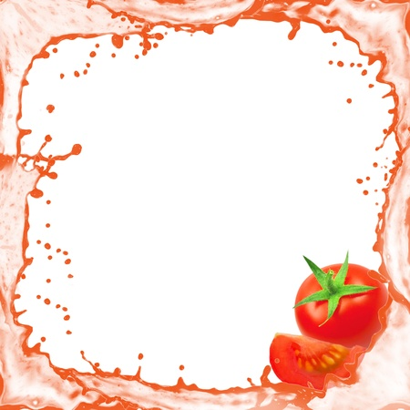 Splash frame with tomato isolated on white photo