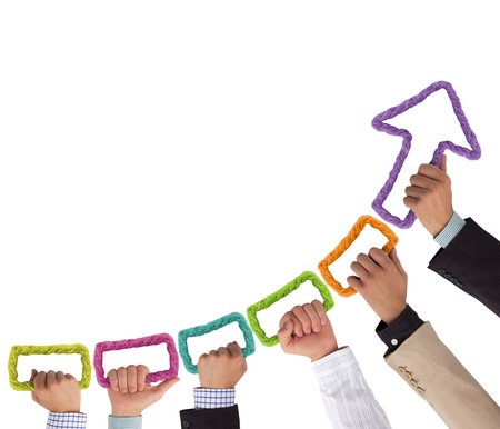 Handen kleurrijke touw vormen pijl wijst naar boven Stockfoto