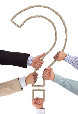 interrogative: Hands holding rope forming interrogation sign