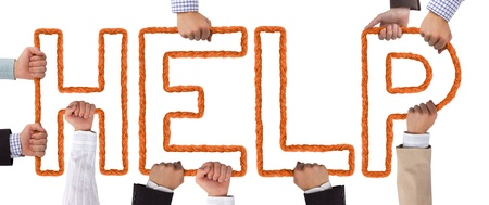 Hands holding orange letters forming Help tag Stock Photo - 15636011