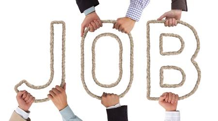 Handen die letters die Job tag