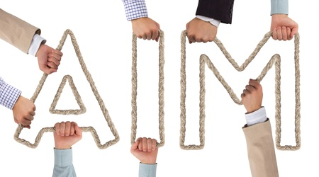 common target: Hands holding letters forming AIM tag