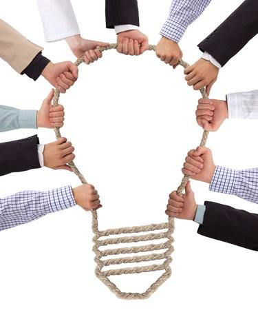 Bedrijfsleven de handen bedrijf touw vormen bulb Stockfoto