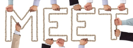 Hands holding letters forming MEET tag Stock Photo - 16035159