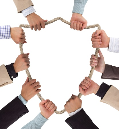 Hands holding rope forming shield Stock Photo - 16190670