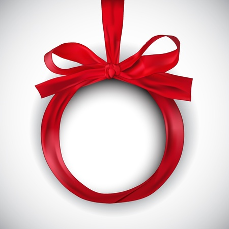 year curve: Illustration of Christmas ball made of red ribbon