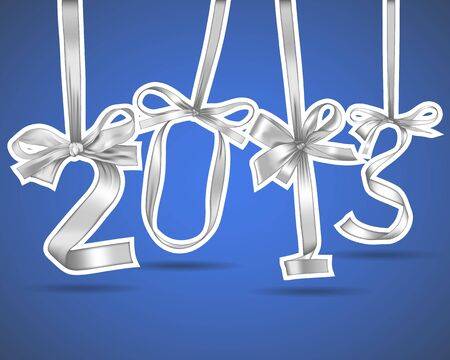 New year 2013 silver ribbons greeting card Vector