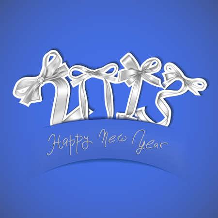 New year 2013 silver ribbons greeting card Stock Vector - 17014447