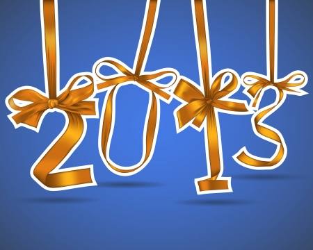New year 2013 golden ribbons greeting card Stock Vector - 17014446