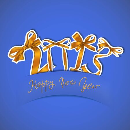 New year 2013 golden ribbons greeting card Vector