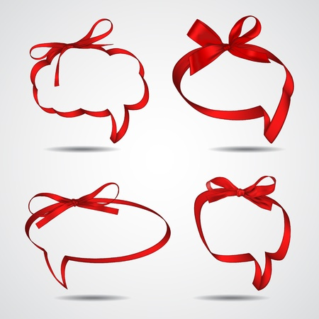 Collection of red ribbons forming speech bubbles Ilustracja