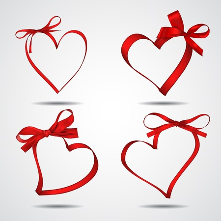 Collection of red ribbons forming hearts