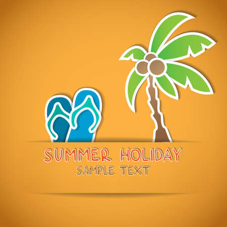 illustration of palm and flip flop Stock Vector - 19452410