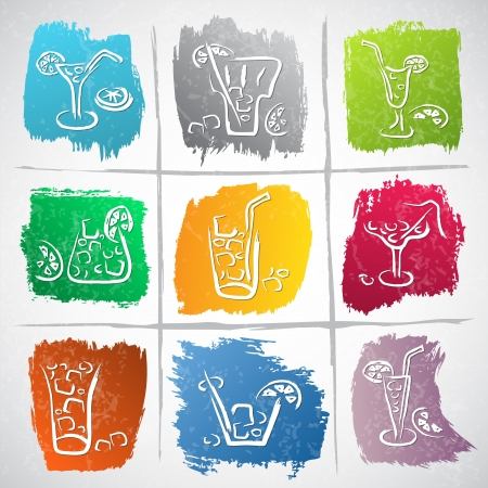 Collection of colorful strokes with drink icons - vector illustration Stock Vector - 19840134