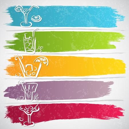 coctel de frutas: Colecci�n de trazos de colores con iconos de bebida - ilustraci�n vectorial