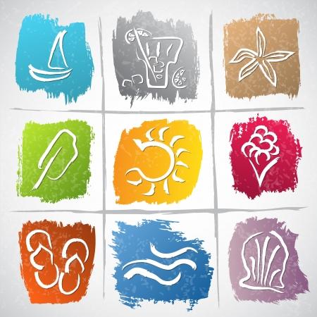Illustrazione della collezione di icone con simboli di estate Archivio Fotografico - 19840132