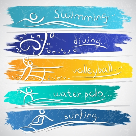 Illustration of icon collection with summer sport activities