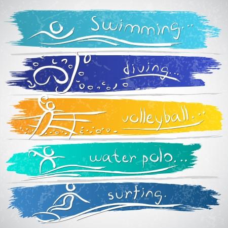 waterpolo: Ilustración de la colección de iconos con las actividades deportivas de verano