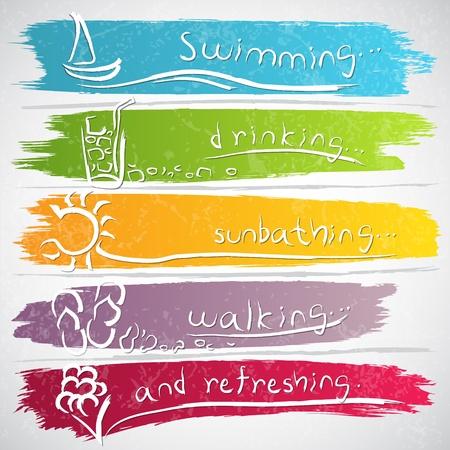 summer: Иллюстрация коллекция иконок с летней символов