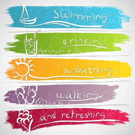 zomers drankje: Afbeelding van het pictogram collectie met de zomer symbolen Stock Illustratie