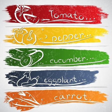 aubergine: Vektor-Illustration von bunten Obst-Icon-Sammlung