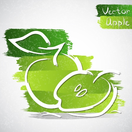 healthful: Vector illustration of green apple