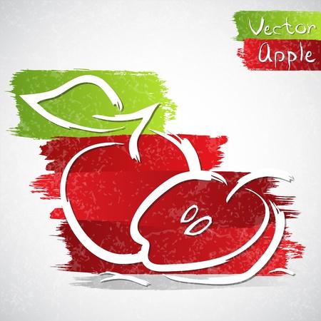 赤いリンゴのベクトル イラスト  イラスト・ベクター素材
