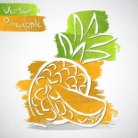 Vector illustratie van ananas met slice