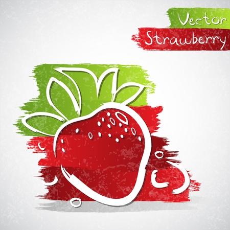 Vector illustratie van aardbei met bladeren