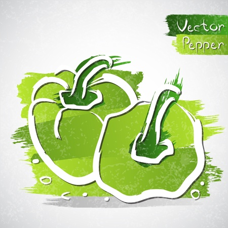 Vector illustration of green peppers Vector