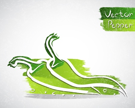 Vector illustration of green peppers
