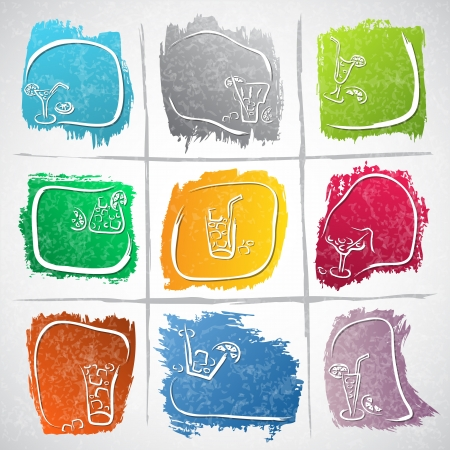 Collection of colorful strokes with drink icons - vector illustration Stock Vector - 20341651