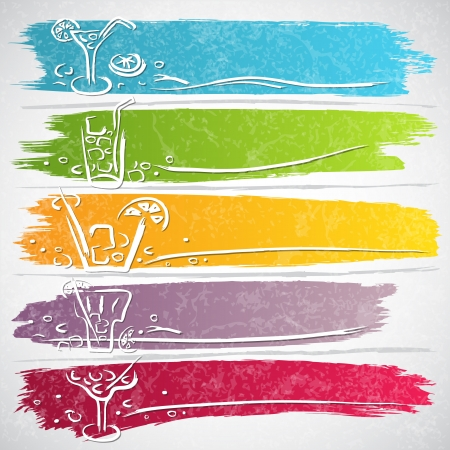 Collection of colorful strokes with drink icons - vector illustration Stock Vector - 20341640