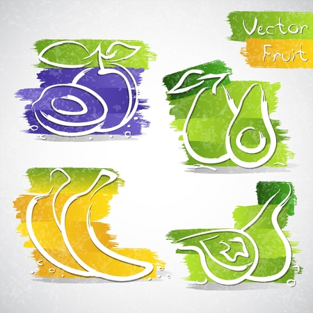 avocados: Vector illustration of colorful fruit icon collection
