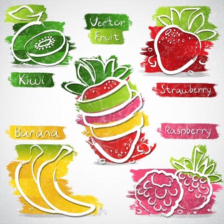 Ilustración vectorial de colores de la colección icono de frutas
