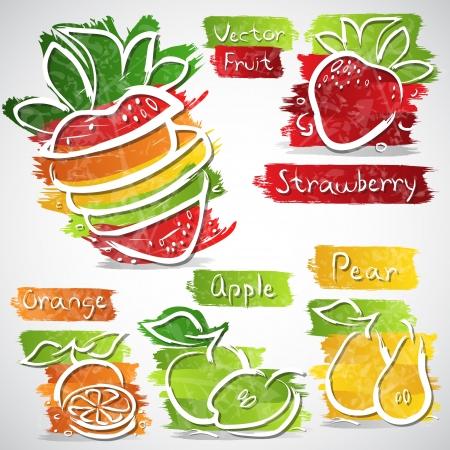 cobranza: Ilustración vectorial de colores de la colección icono de frutas
