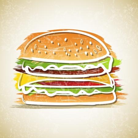 グランジ背景にハンバーガーのベクトル イラスト