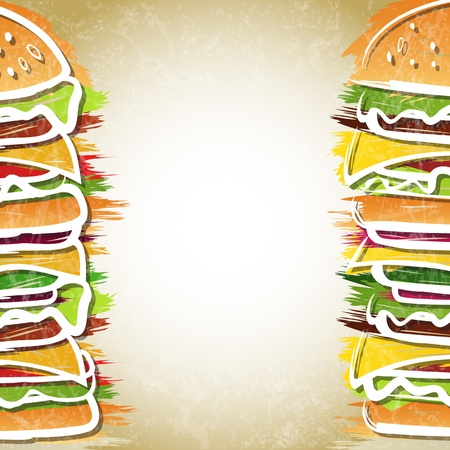 ハンバーガー 2 つ形成背景ベクトル イラスト