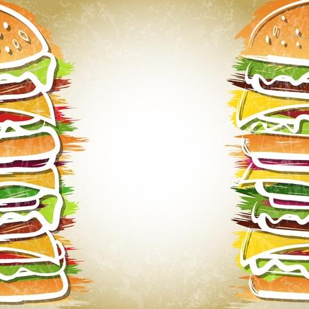 Twee hamburgers vormen achtergrond - vectorillustratie Stock Illustratie