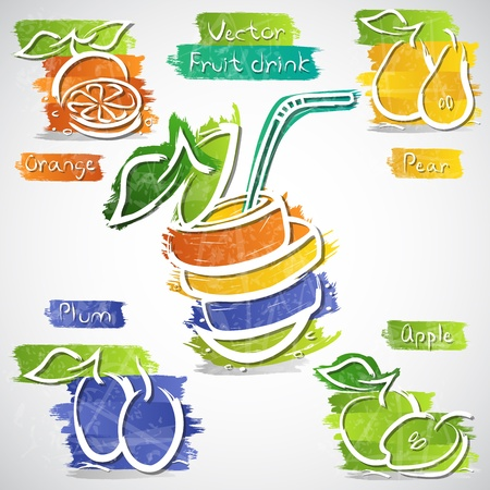 multivitamin: illustration of colorful fruit drink icon collection