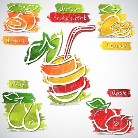fruit drink: illustrazione di colorato frutta bevanda icona collezione Vettoriali