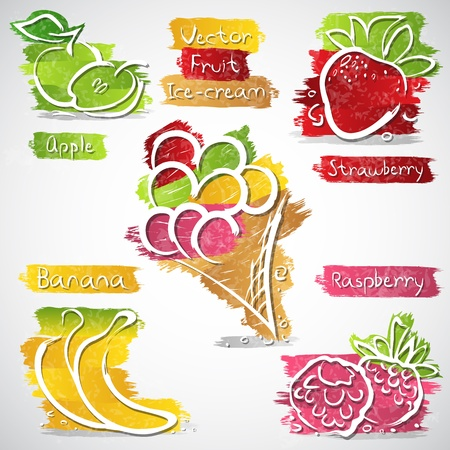 illustration of ice cream and fruit icon collection illustration